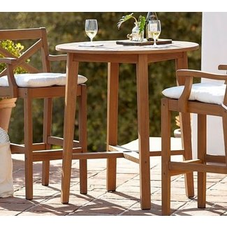 Hampstead Teak Fixed Bar Height Table Barstool Set 2