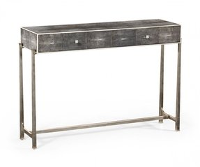 Jonathan charles shagreen console table black finish with silver base