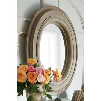 Large round wood mirror 1
