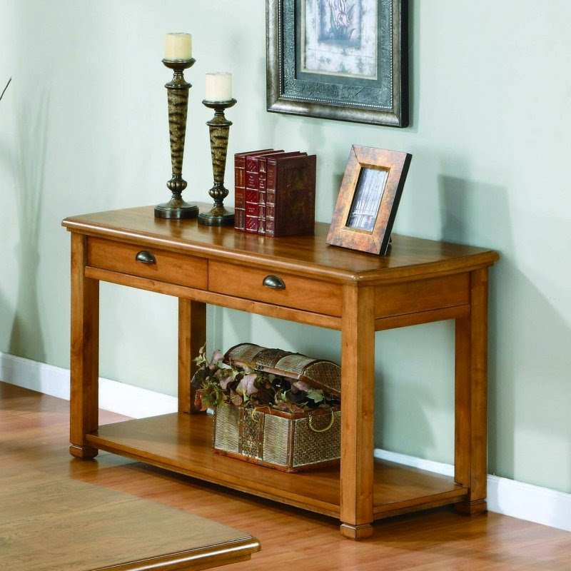 Light oak veneer sofa console table