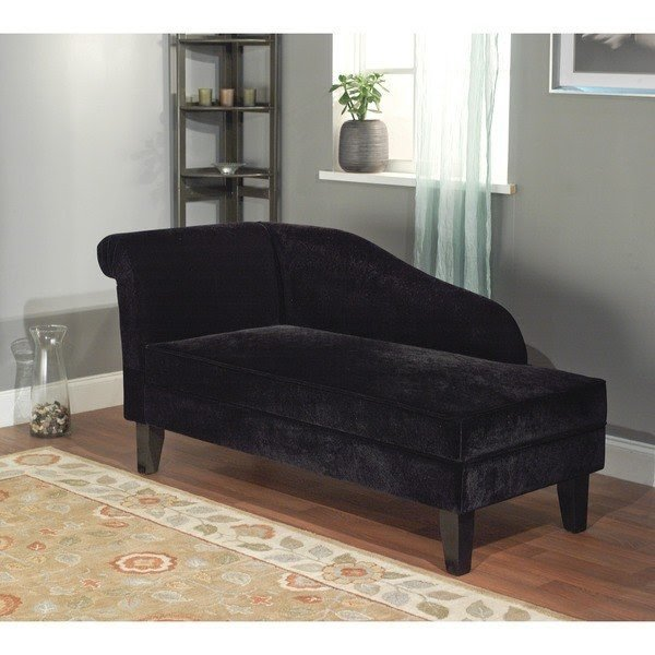 Milan Microfiber Black Storage Chaise Lounge