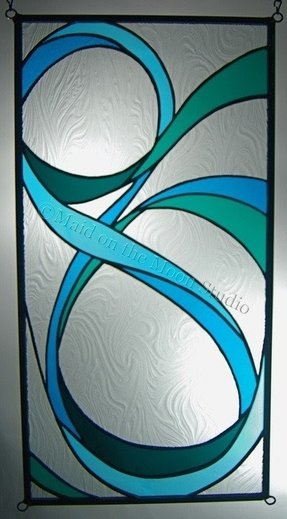 Ribbons i variation 2 stained glass panel vertical maid on