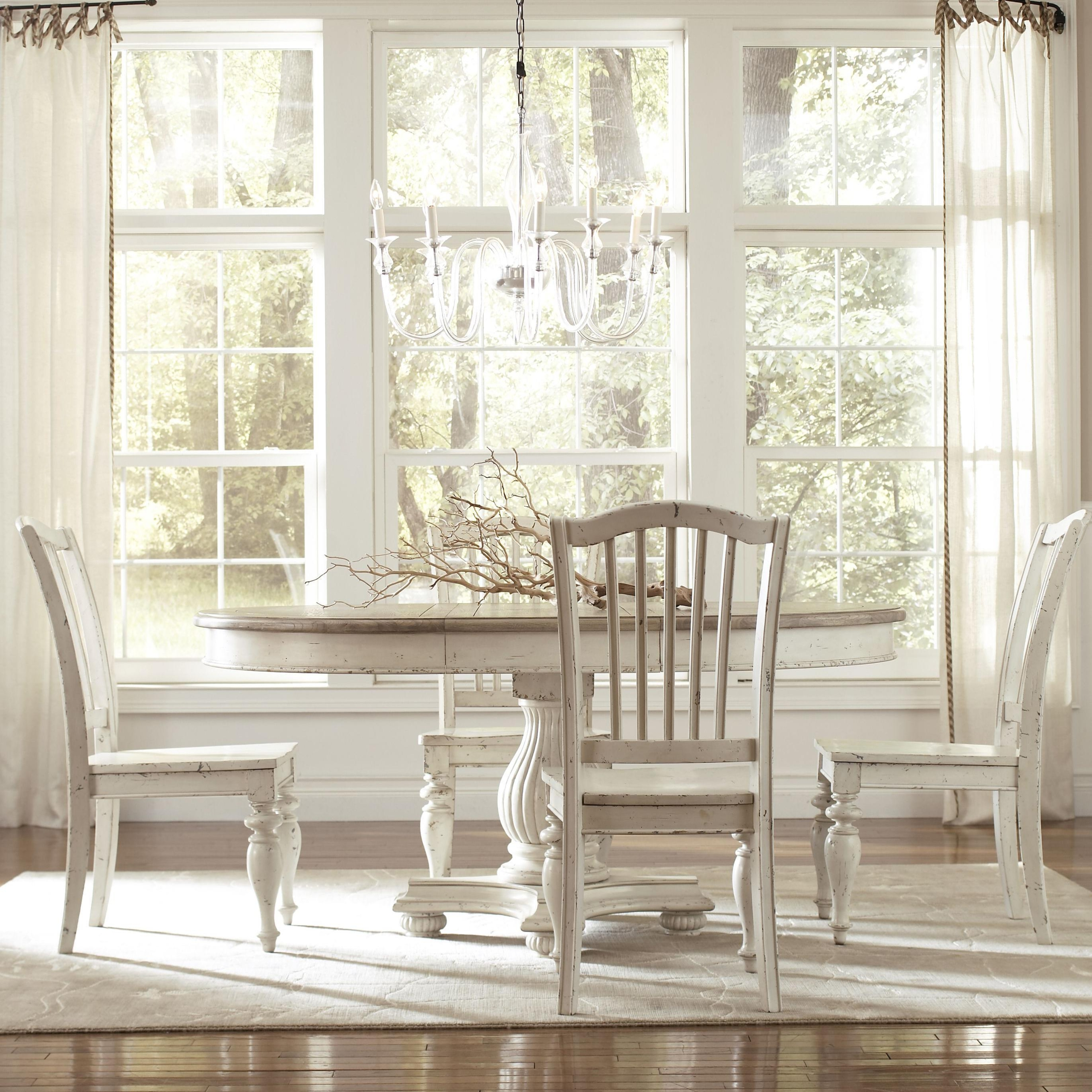 Superbe Round Dining Table Set With Leaf 1