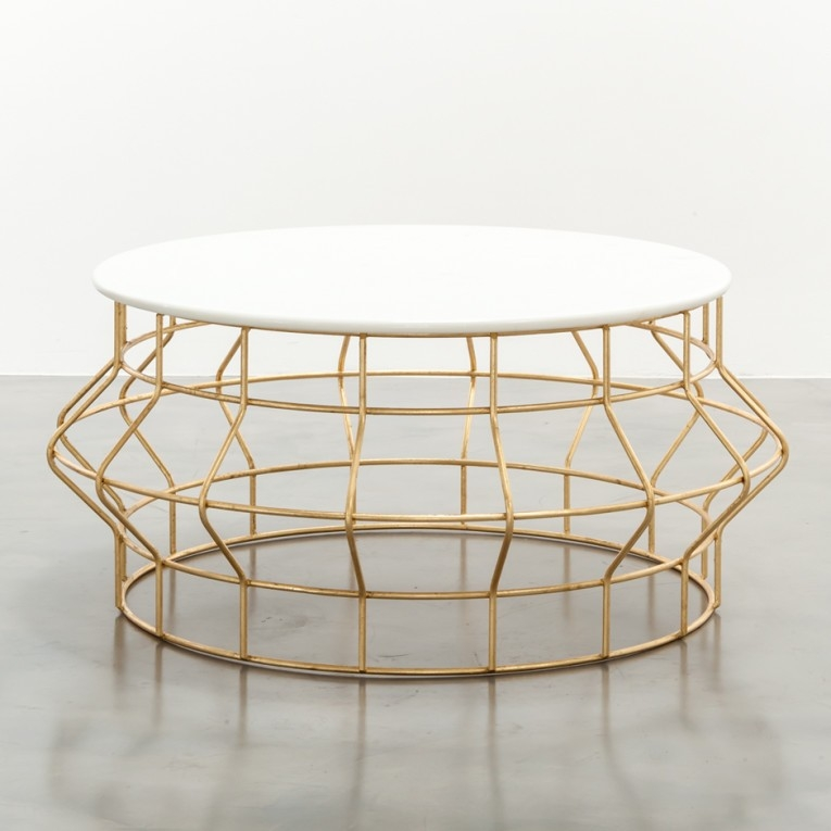 Round Hammered Copper Coffee Table