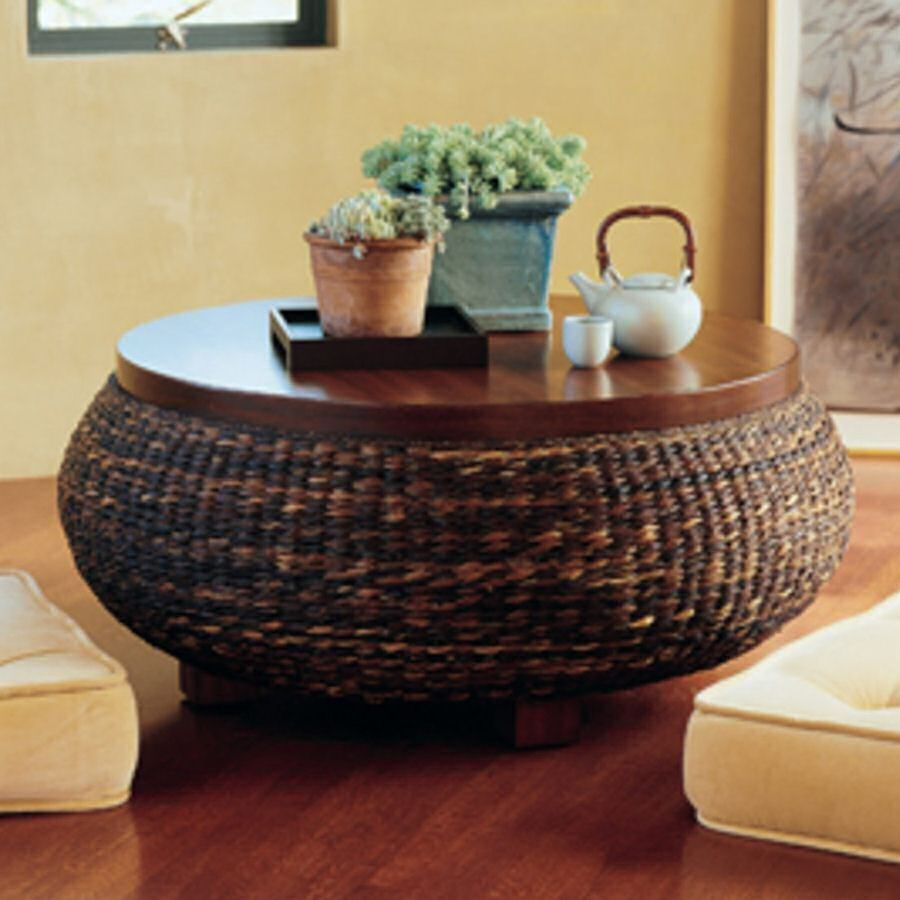 Attrayant Round Wicker Coffee Table
