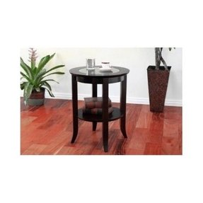 Small round glass end table 2
