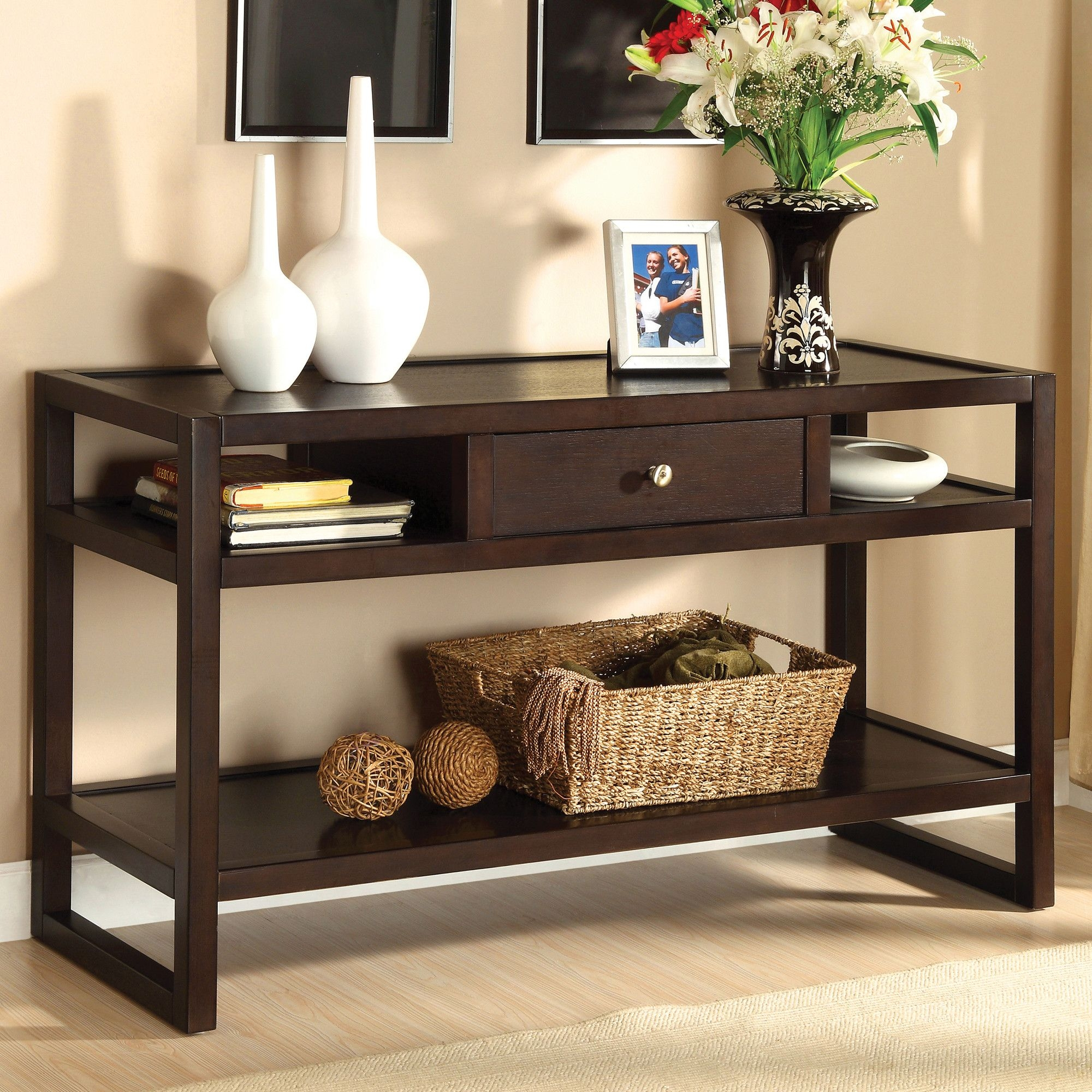 Incroyable Sofa Table With Storage Drawers   Ideas On Foter