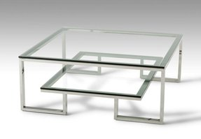 Square glass coffee table contemporary 1