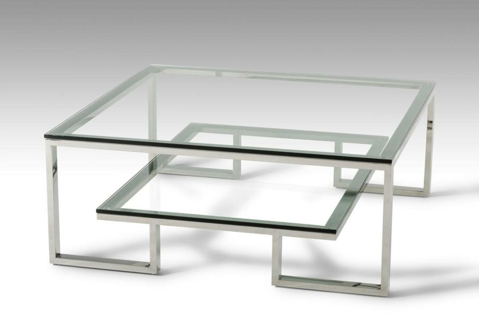 Charmant Square Glass Coffee Table Contemporary 1