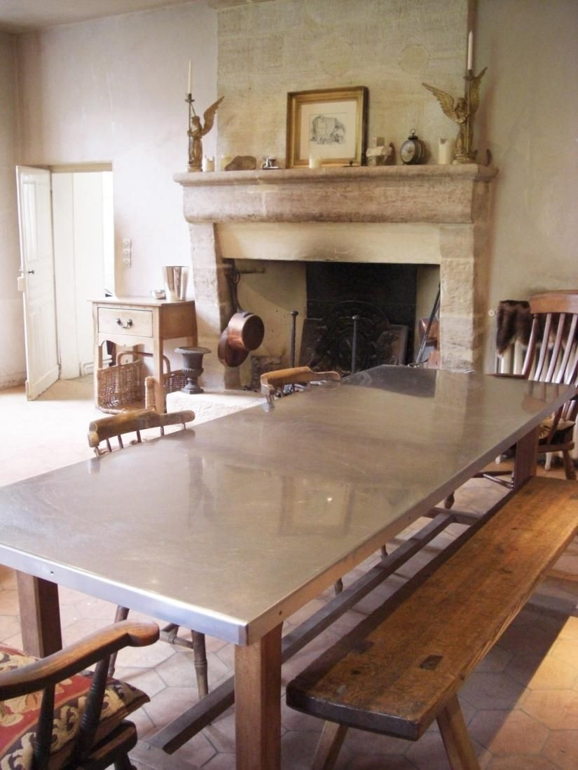 Marvelous Stainless Steel Top Dining Table