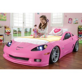 Step2 corvette convertible toddler to twin bed with lights pink