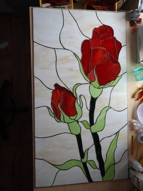 Tiffany stained glass panel roses