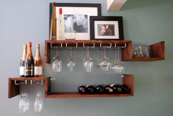 Wall mounted wine rack and glass candle