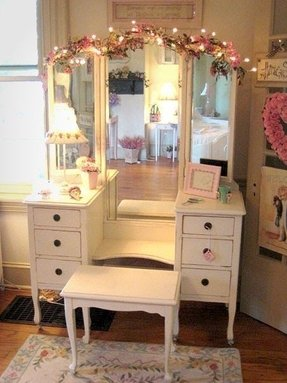 White Vanity Table With Mirror And Bench Foter