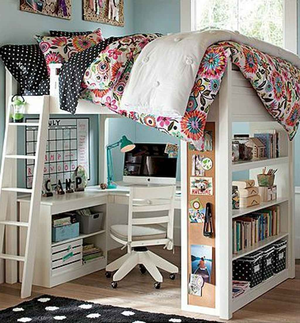 White wood loft bed with desk