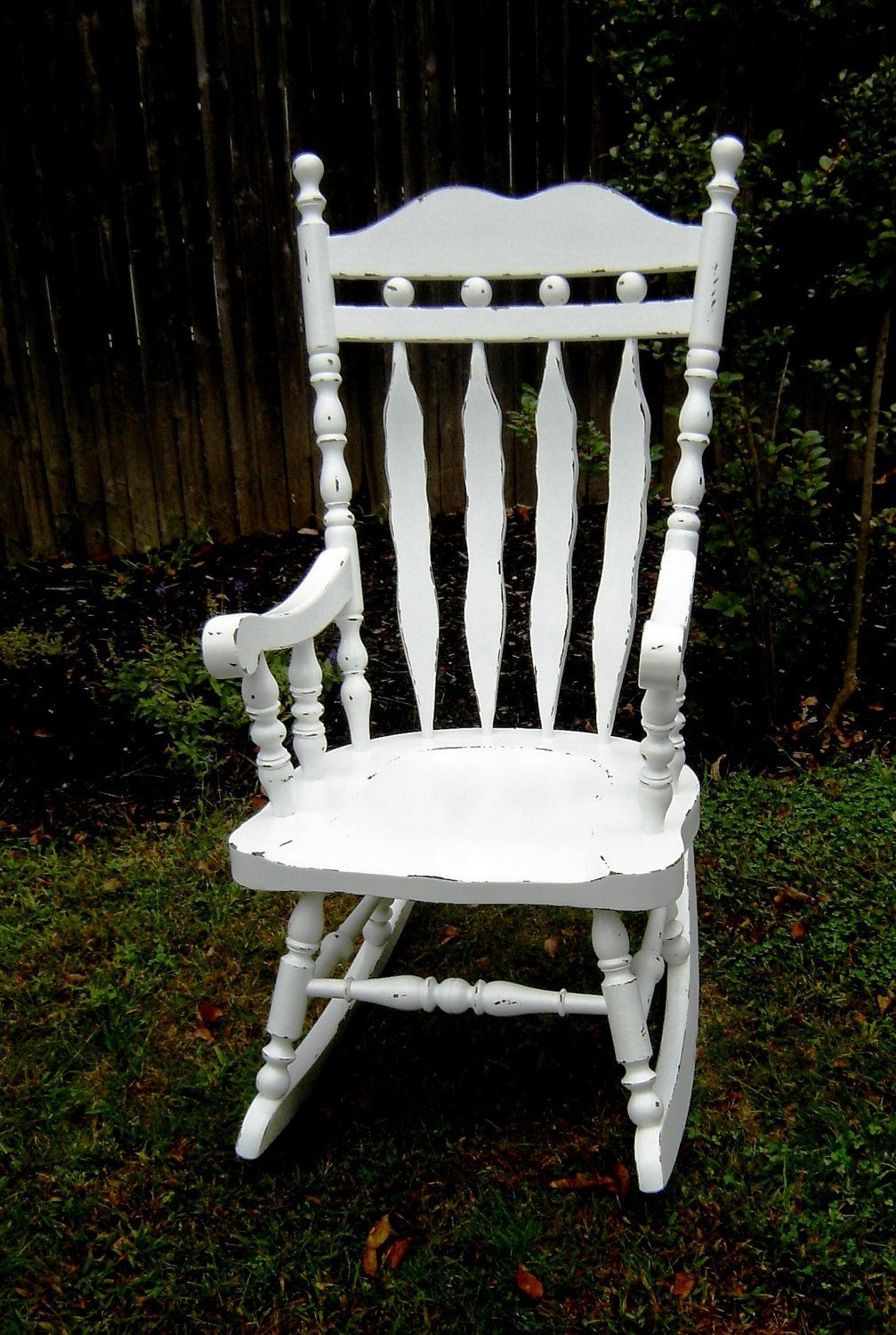 White Wooden Shabby Chic Rocking Chair