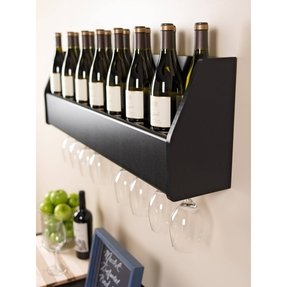 Wood wall mounted wine rack