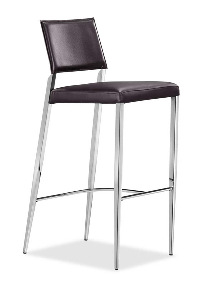 Zuo Flick Chrome And Black Bar Stool Set Of 2 Contemporary Bar Stools And Counter Stools