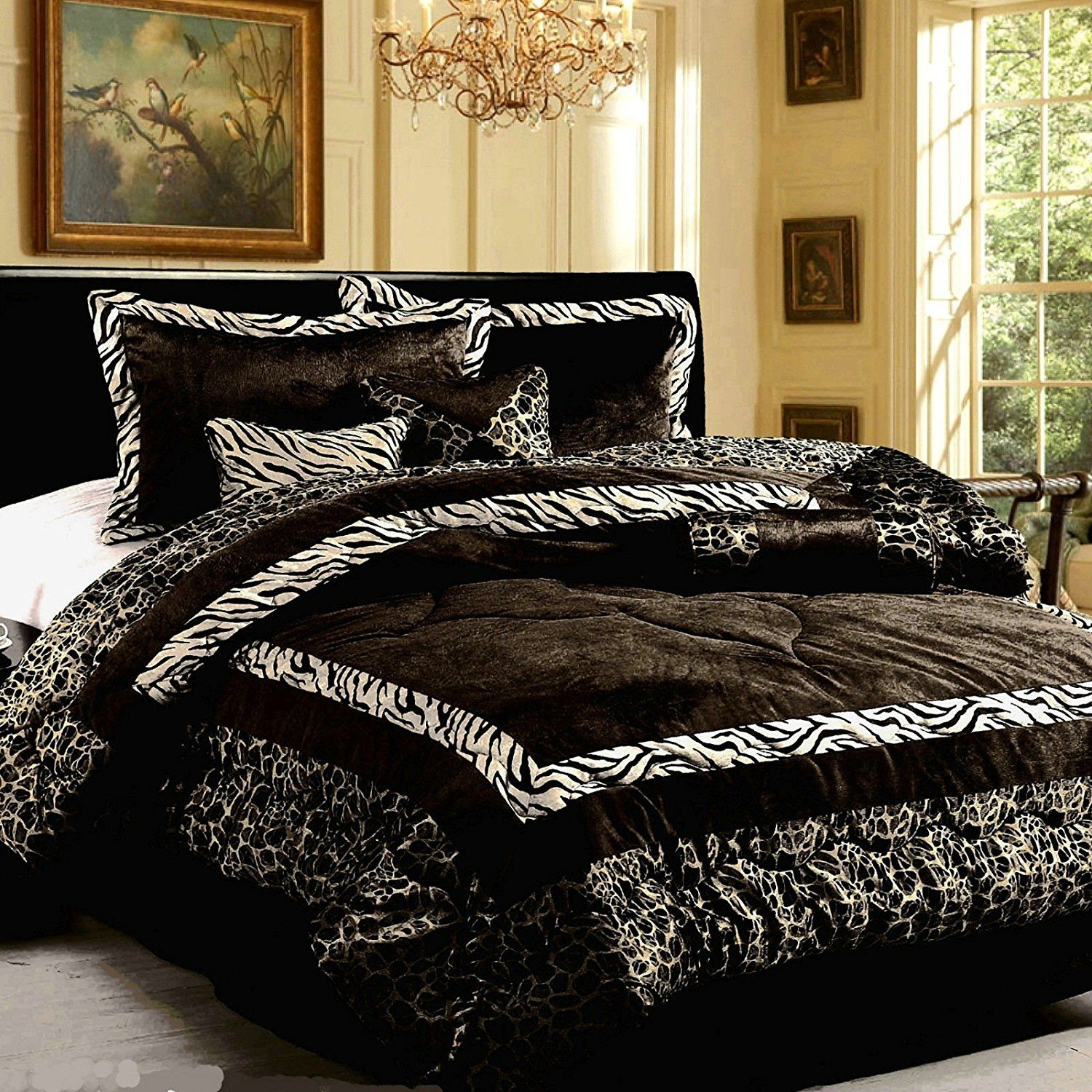 15PC Luxury Faux Fur Safarina Black & White Zebra Animal King Comforter Set with Matching Curtain
