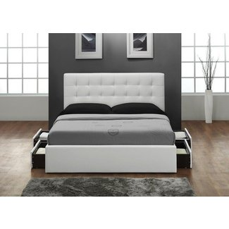 Belmont white queen size storage bed
