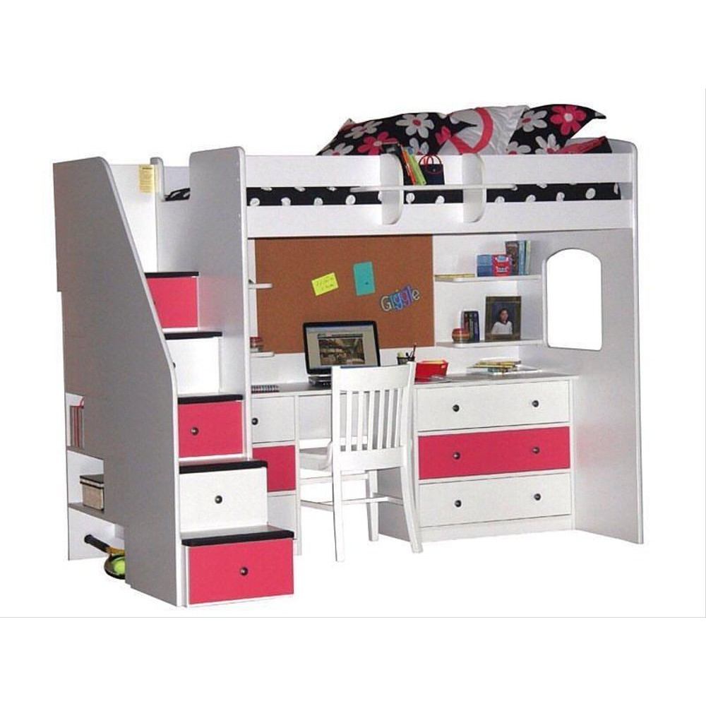 Berg Furniture Utica Twin Dorm Loft Bed With Desk And Storage