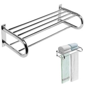 Deluxe Chrome Plated Wall Mounted Stainless Steel Bathroom / Kitchen Utility Shelf Rack w/ 2 Towel Bars