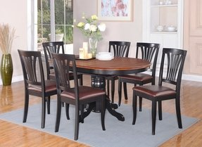 East West Furniture Avon7 Blk Lc 7pc Oval Dining Set With Single Pedestal