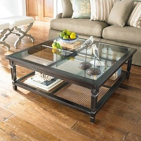 Large square glass coffee table foter for Large glass table top