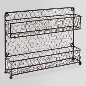 MyGift® Rustic Brown Dual Tier Wire Spice Rack Jars Storage Organizer (Kitchen Countertop or Wall Mount)