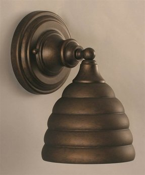 One Light Wall Sconce with Beehive Metal Shade in Bronze