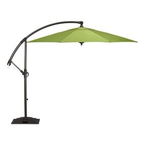 Outdoor Patio Cantilever Umbrella 11 Foot Round Canopy With Solor Powered Lights Includes Base And Storage Cover (Sunset)
