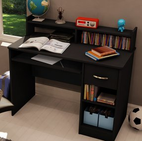 South Shore Axess Small Desk Black - Kid's Children or Child's Small Bedroom Study Table Desk Furniture