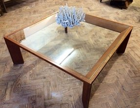 Square wood amp glass coffee table