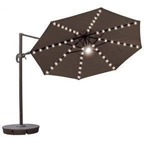 STRONG CAMEL 11.5' Deluxe Cantilever Patio Hanging SOLAR LED LIGHT Umbrella With Base- COCOA