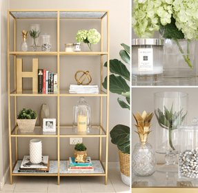 Wall mounted glass shelving unit