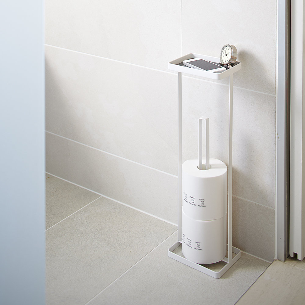 White Freestanding Toilet Paper Holder With Tray