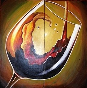 Zartsy 100% Hand Painted Modern Abstract Still Life Wine Glass Artwork Home Wall Decor Art Oil Paintings on Canvas with Stretched Wood Frame Large Oversized