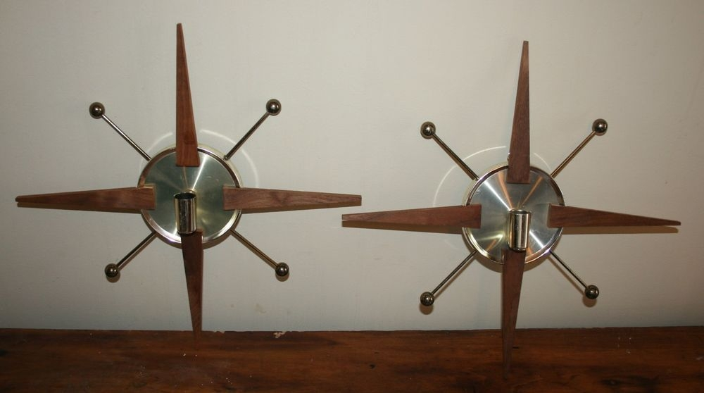 2 Vtg 50s 60s Atomic Starburst Mid Century Modern Wall Sconce Candle Holders