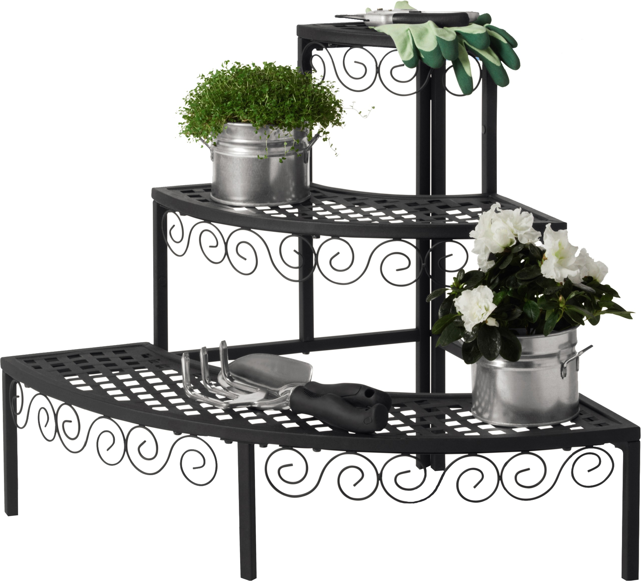 3 Tier Corner Plant Stand Classic Style For Indoor Outdoor Patio Garden Flowers