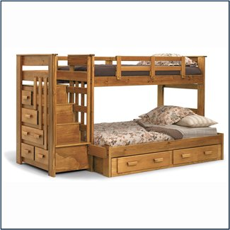 Bunk beds with full bed on bottom