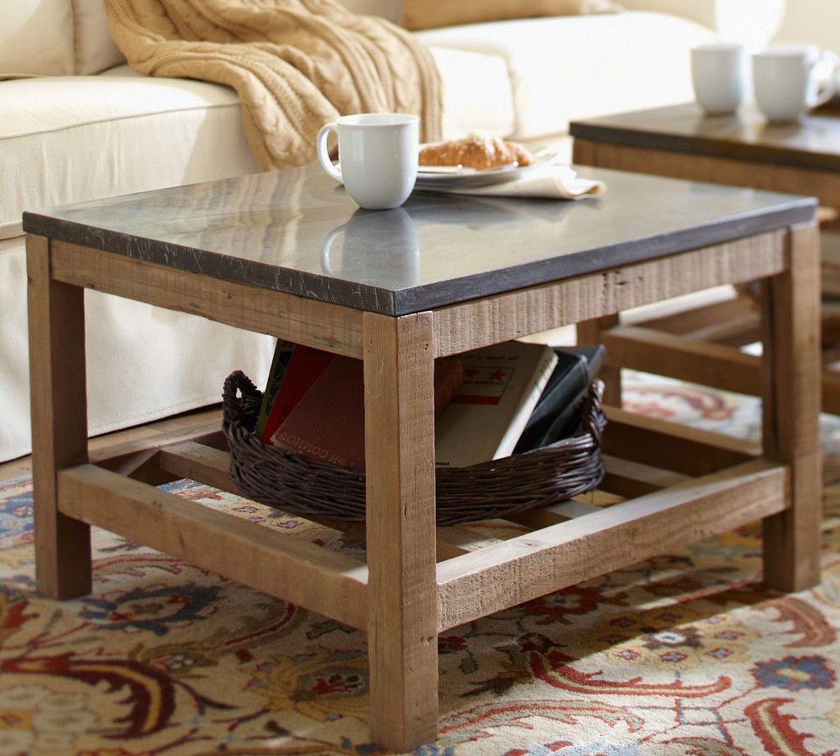 Conner Wood Stone Square Coffee Table