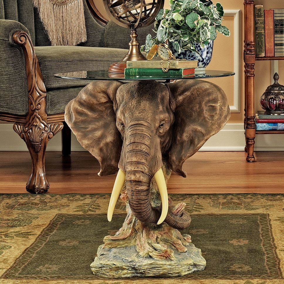 Elephant round coffee table glass top