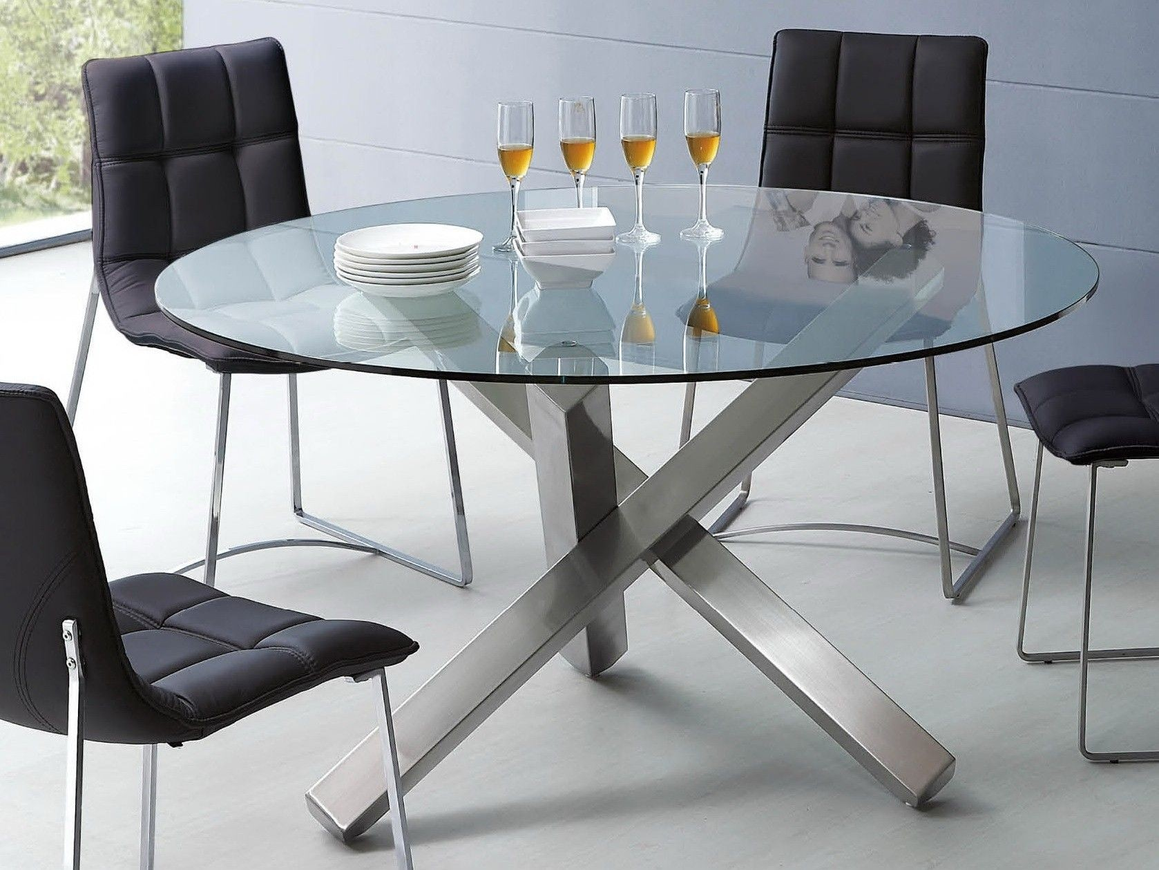 Glass And Metal Dining Table 1