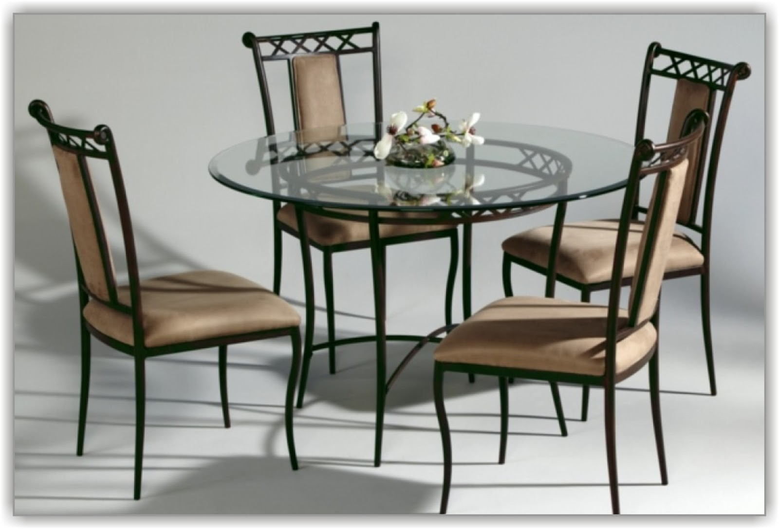 Great Glass Top Metal Dining Table