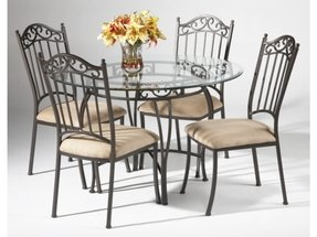 Glass top wrought iron dining table