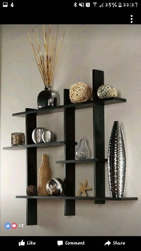 Living room wall shelves