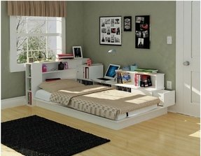 It S A Comfortable Twin Bed That Is Combined With Back And Side Bookcases Open Shelves There Even E For Laptop Computer Low Profile
