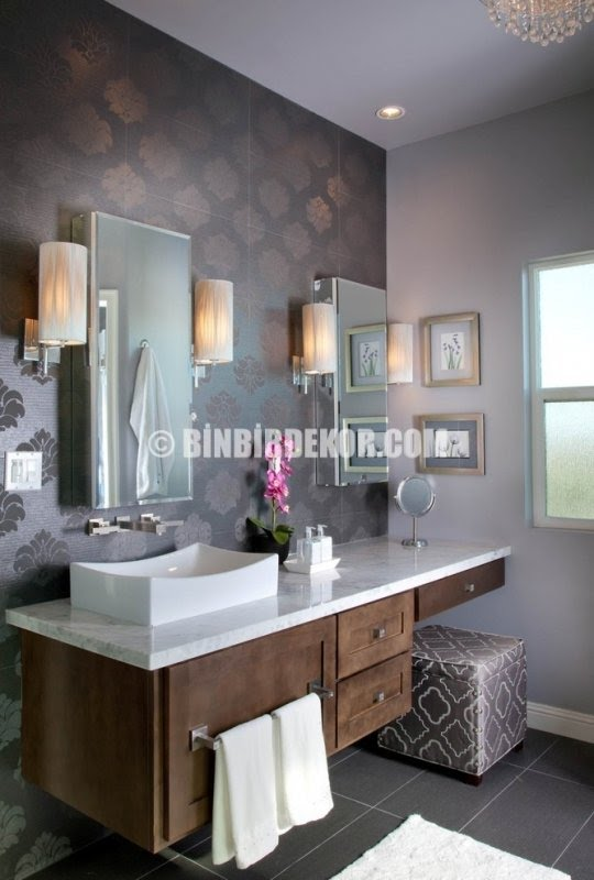 Master bathroom vanity with makeup area
