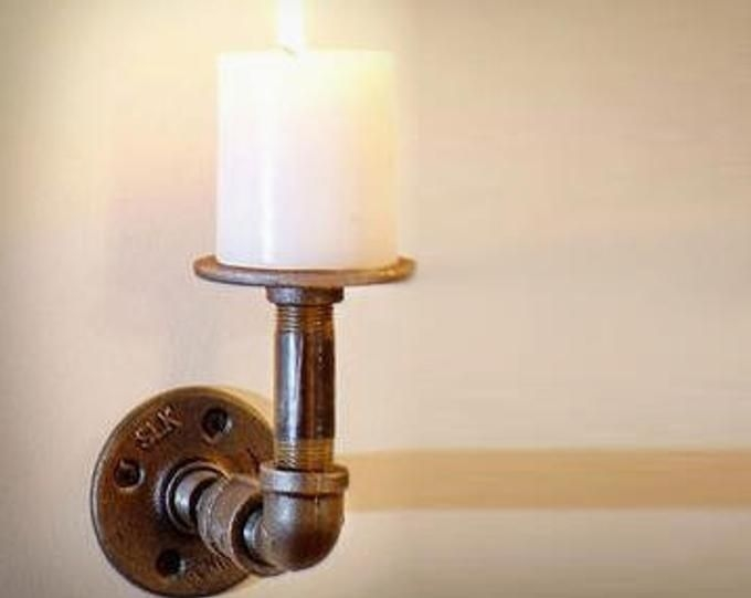Modern industrial pipe steam punk candle