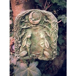 Moon gazing hares wall plaque